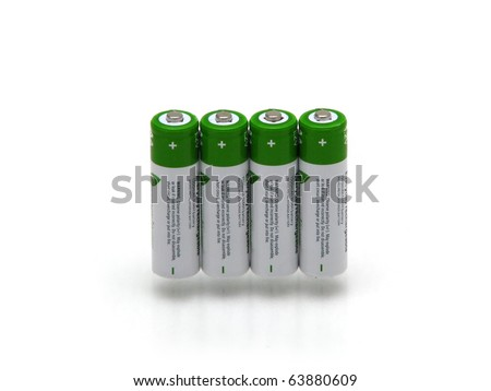 Four rechargeable battery isolated on white bakground
