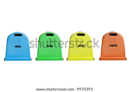 Four recycle containers for paper, glass, metal and plastic isolated on white background