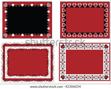 Stock vector : Three Floral Valentines Borders Free printable card borders