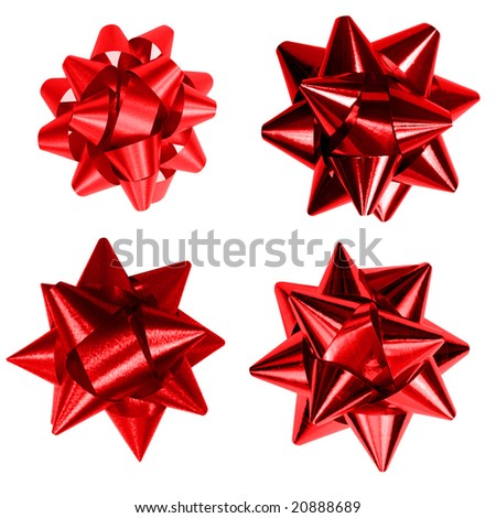 Four red bow isolated on white background