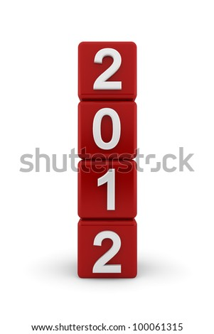 Four red cubes placed on end to form a tower with white embossed bevelled numerals for 2012