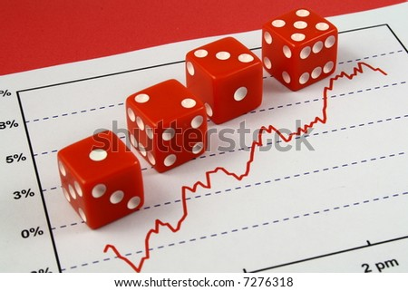 Four red dice over a stock market graph