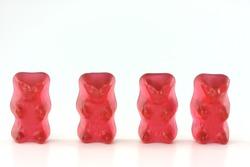 four red gummy bears