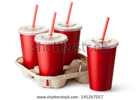 Four red takeout cups with a cup holder. Isolated on a white.