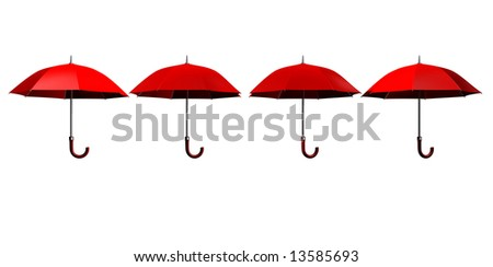 Four red umbrellas isolated on white background - 3d render