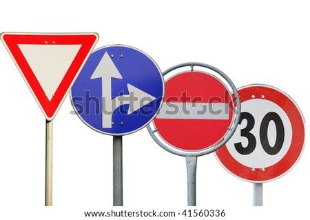 Four road sign on a white background