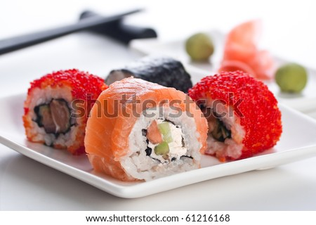 Four roll, wasabi and ginger on the white plate