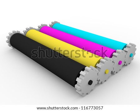 Four rollers for graphic arts inks. Cyan, magenta, yellow and black