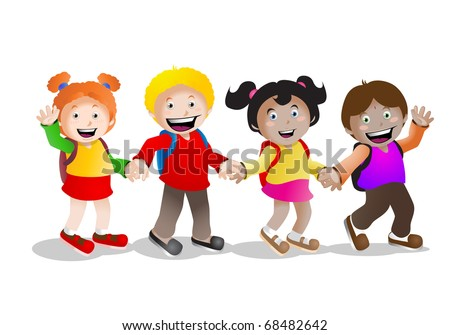 four school children  holding hand back to school cartoon illustration