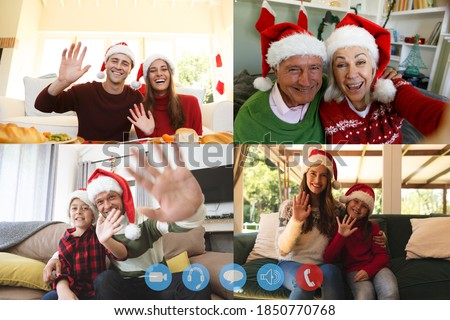 Four screens showing people wearing santa hats having video chat interacting with friends, smiling and waving. social distancing during covid 19 pandemic at christmas time.
