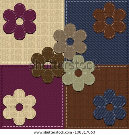 four seamless backgrounds and scrapbook flowers
