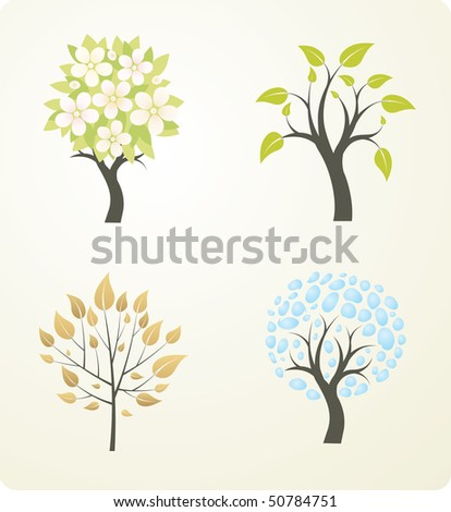 Four season tree. Vector version see in my portfolio.