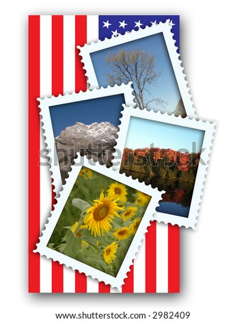 Four Seasonal Postage Stamps with drop shadows an US flag background