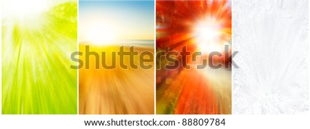 Four seasons backgrounds of blurred spring growth,beach, vivid foliage and ice crystals