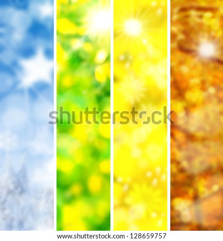 four seasons collage, several images of beautiful natural landscapes at different time of the year - winter spring, summer, autumn, planet earth life cycle concept