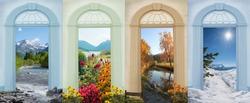 four seasons landscapes - nostalgic design with view through archway doors. stillach river, flowerbed spa garden, schlierach river, zugspitze mountain