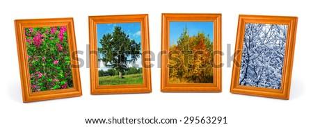 Four seasons (my photos) isolated on white background
