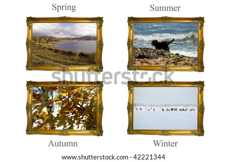 Four Seasons: Ornate frames with images from each of the four seasons