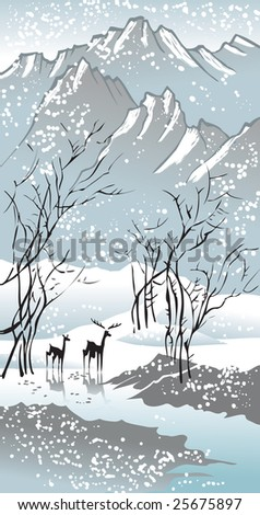 Four seasons: winter, hand-drawing picture in Chinese traditional painting style