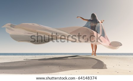 Four Seasons, woman at summer - stock photo
