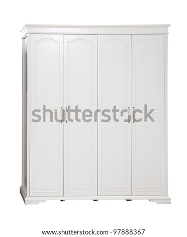 Four-section wardrobe isolated on white, with clipping path