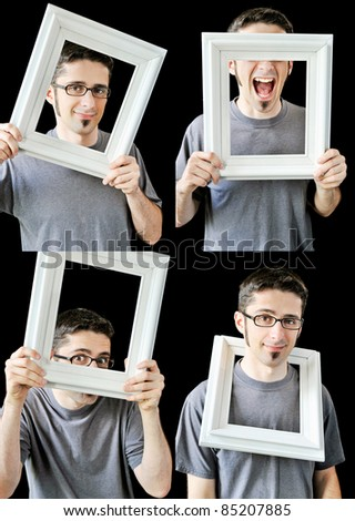 Four separate photos of a young man with a vintage white picture frame.
