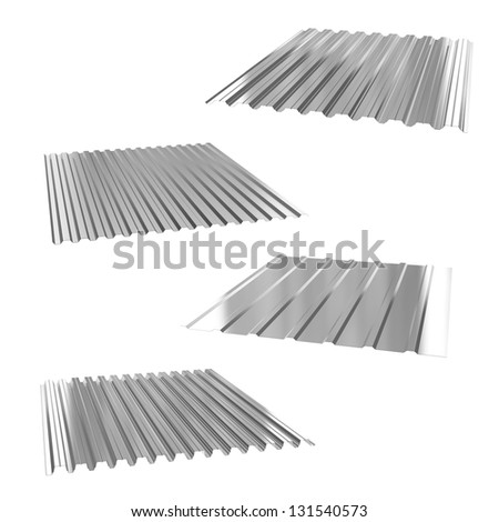 four sheets of stainless steel on a white