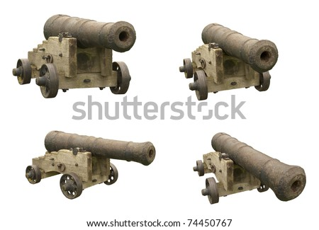 four shots of an old war cannon on white to cut out