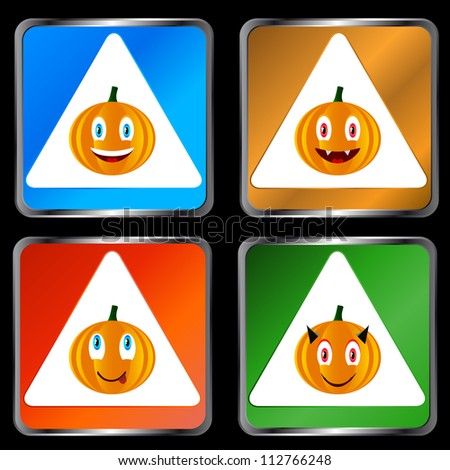 Four signs of pumpkins on a black background - stock photo
