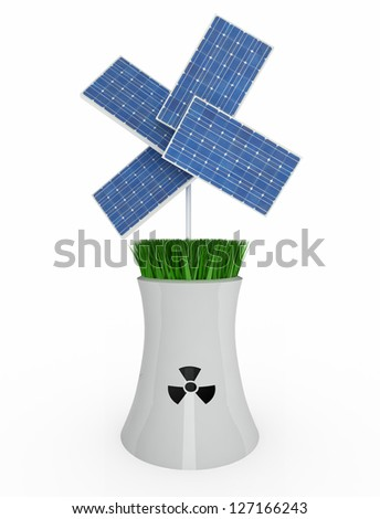 four solar panels over nuclear industry on white background, 3d illustration