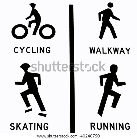 Four sport icons: cycling, walkway, skating, and running.  Isolated in white - stock photo
