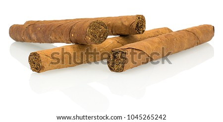 Four stack cuban cigars isolated on white backround with shadow reflection. Original homemade cuban cigar. Cigars stacked macro closeup on white backdrop. Tobacco leaf.