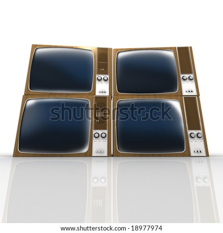 Four stacked vintage televisions against a white background