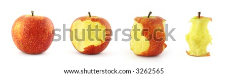 four stages of eating apple isolated on white