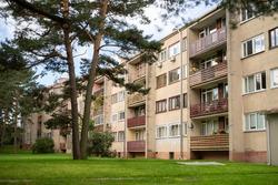 Four storey, residential block of flats house (Khrushchyovka).