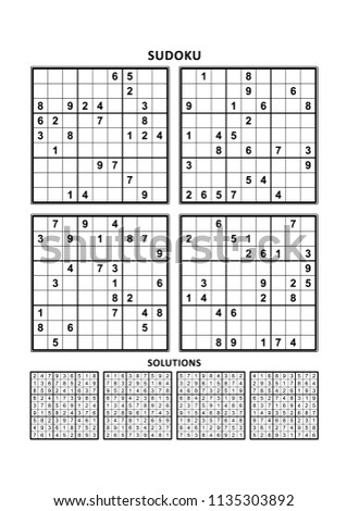 Four sudoku puzzles of comfortable (easy, yet not very easy) level, on A4 or Letter sized page with margins, suitable for large print books, answers included. Set 13. Stockfoto ©