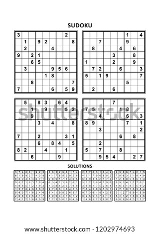 Four sudoku puzzles of comfortable (easy, yet not very easy) level, on A4 or Letter sized page with margins, suitable for large print books, answers included. Set 15. ストックフォト ©