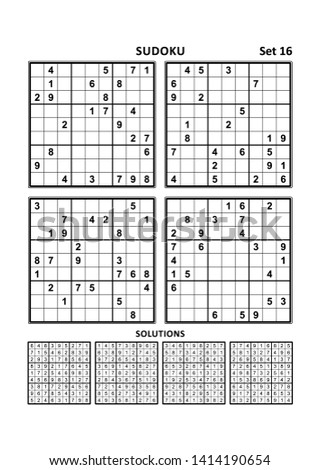 Four sudoku puzzles of comfortable (easy, yet not very easy) level, on A4 or Letter sized page with margins, suitable for large print books, answers included. Set 16. ストックフォト ©