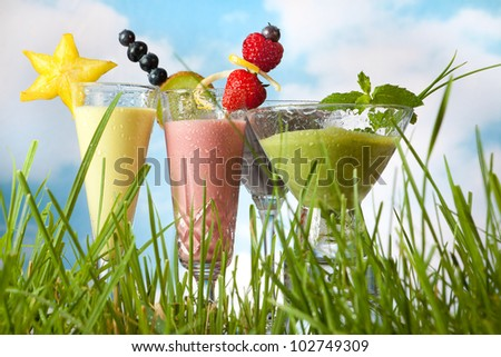 Four summer fruit smoothies against a blue sky