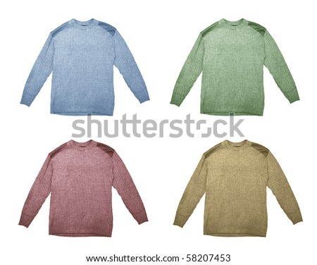 Four sweaters of different color isolated over white background