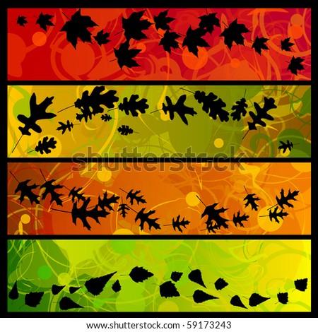 Four swirly fall banners - raster