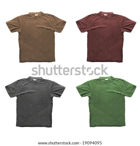 Four t-shirts in different colours isolated on white
