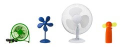 Four table fans (blue, green, white and orange) isolated on white background