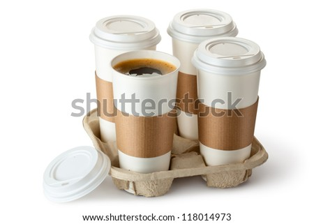 Four take-out coffee in holder. One cup is opened. Isolated on a white.
