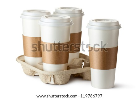 Four take-out coffee. Three cups in holder. Isolated on a white.