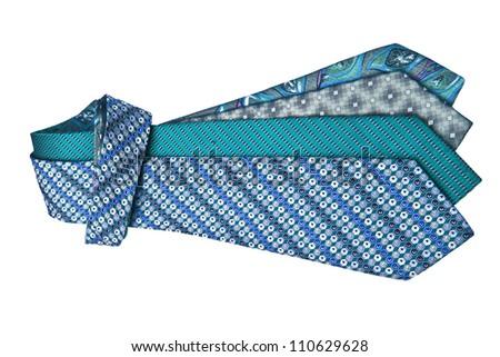 Four ties on white background