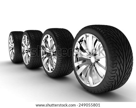 Four tires Chromed disks 3D render