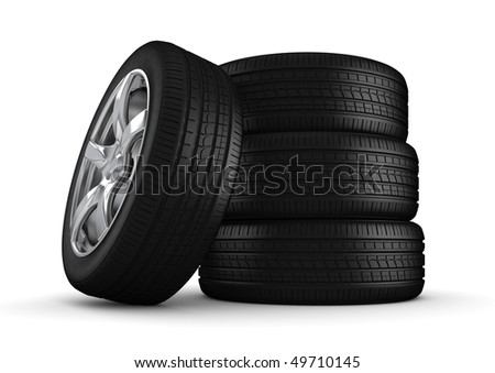 Four tires isolated close-up (3d isolated on white background objects series)
