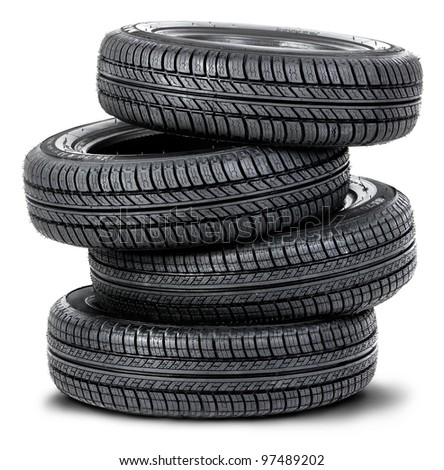 Four tires on the white background