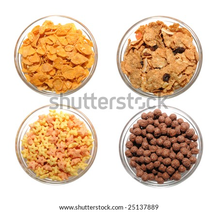Four transparent bowls with different types of corn flakes